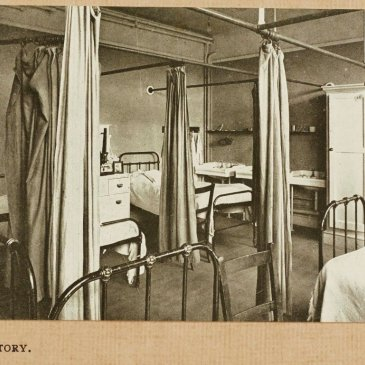 Postcard of Great Ayton Friends' School showing the girls' dormitory.