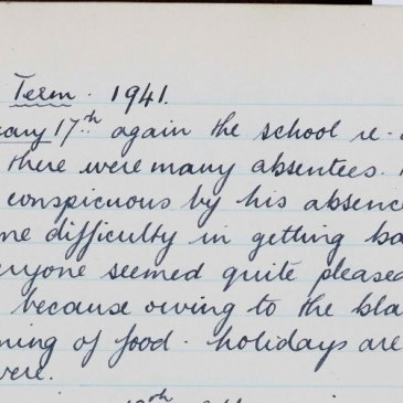 Extract from the Great Ayton Friends' School student diary dated 17th January 1941.