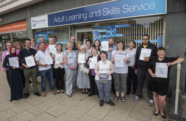 Winners and learners at Harrogate Adult Learning centre with Sandy Docherty and members of the adult learning team.