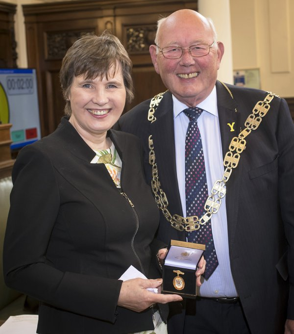 Cllr Robert Windass, North Yorkshire County Council's new chair, with outgoing chair Cllr Helen Swiers