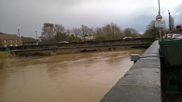 high water level under bridge