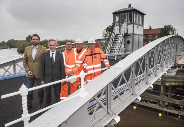 Councillors Andrew Lee and Don Mackenzie on the bridge last year after strengthening and repainting work