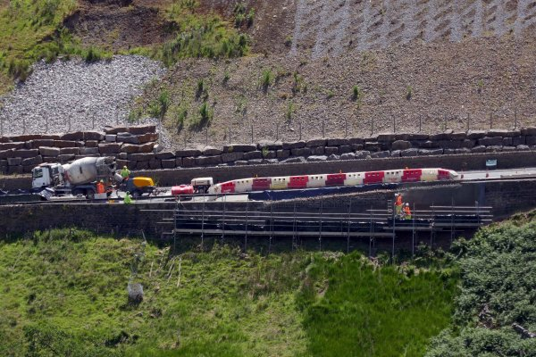 Repair work taking place at Kex Gill