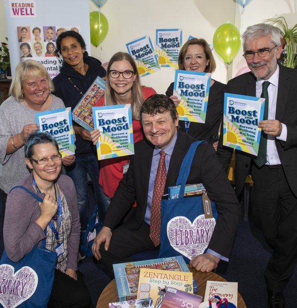 County Council staff and local health organisations celebrate the launch of Wellbeing Bags at Skipton library