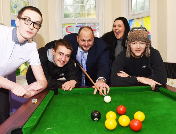 James Cliffe with young people from the No Wrong Door hub in Scarborough.
