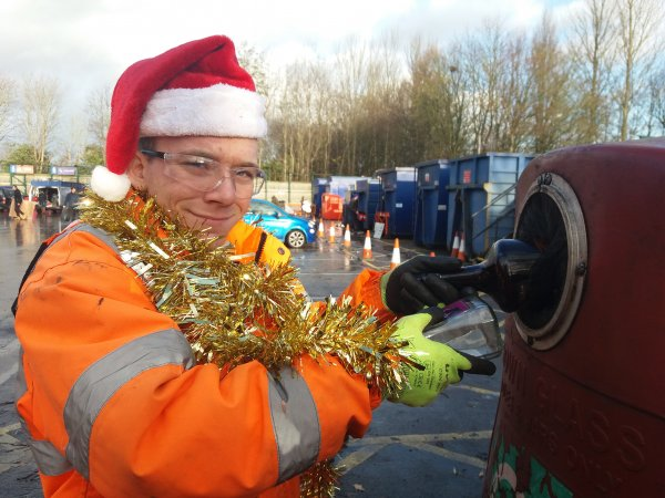 Yorwaste staff member Liam gets festive to spread the recycling message