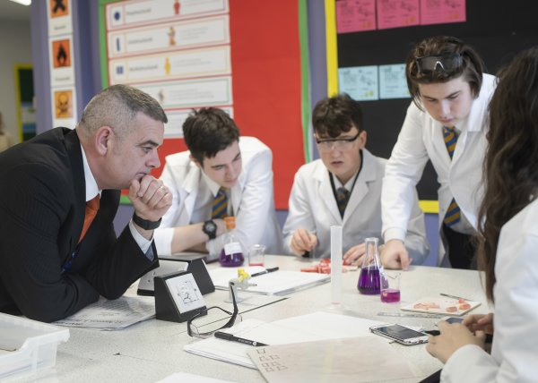 Headteacher Colin Scott in science lesson with Risedale pupils