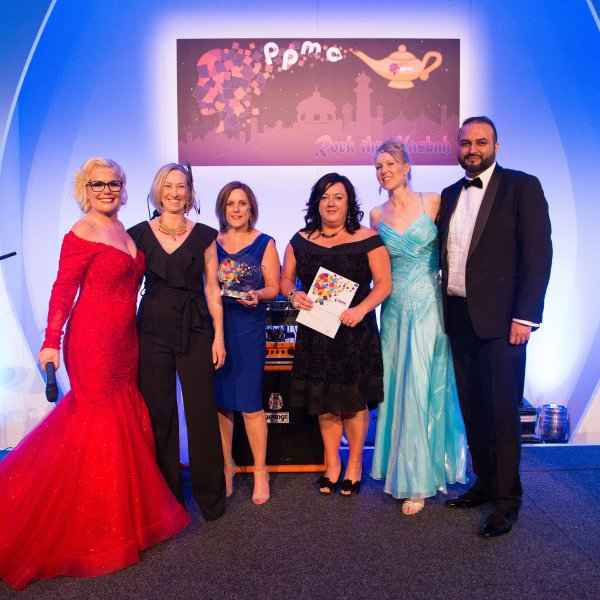 At the awards are (from left) host Shonette Bason-Wood from Spread the Happiness Educators; Saskia Aucott from Iken; senior HR advisor Sarah Barron; Sarah France-Gorton, principal adviser Resourcing Solutions; senior HR advisor Keeley Metcalfe; and Head of HR (Commercial) Haroon Rashid.
