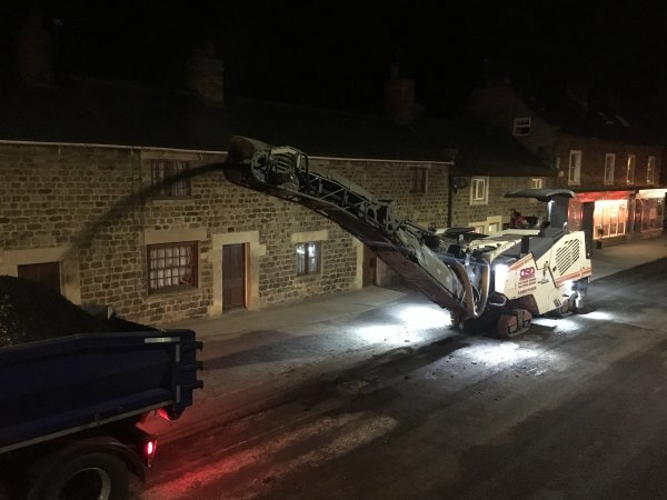 Night time roadworks in North Yorkshire