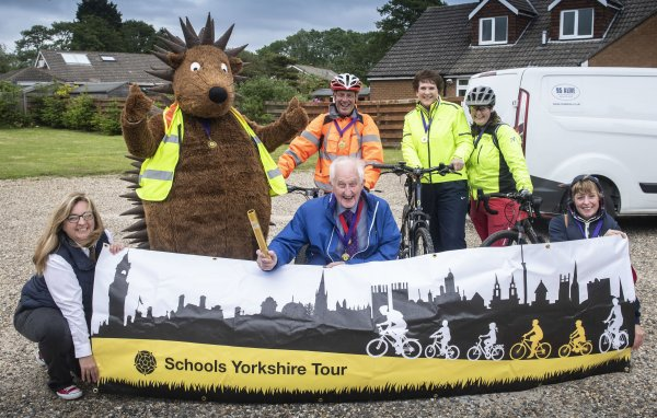 Members of the Road Safety and Travel Awareness team with Cllr David Jeffels and mascot Spike the Hedgehog at the start of the North Yorkshire leg of the tour