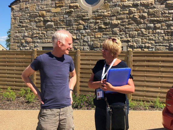 researcher talks to resident in Skipton
