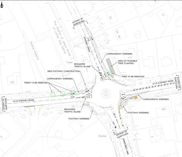 Map of the A170 Stepney Road/Stepney Drive roundabout