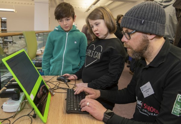 children at a Tech-Makers drop-in earlier this year