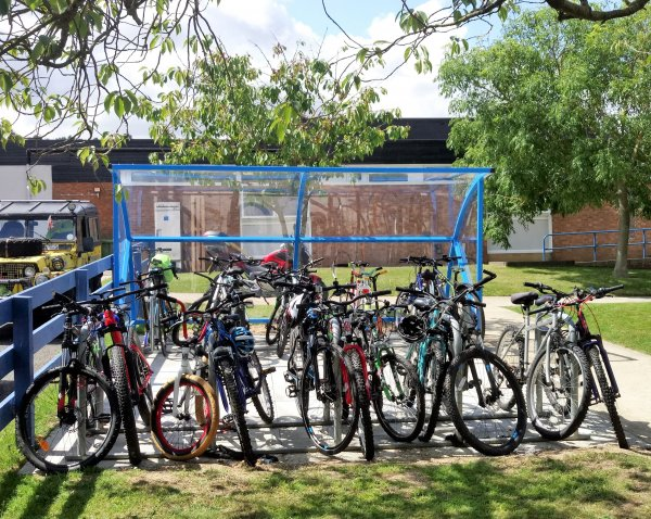 Bikes in a rack at a school