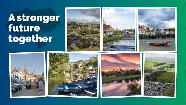 A stronger future together montage showing iconic scenes from across North Yorkshire