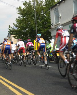 Cyclists in the Tour de Yorkshire in North Yorkshire.