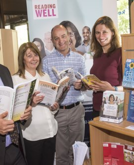 At the launch of the new collection at Northallerton library are (from left) Cllr Greg White; Glenda Middleton, Living Well team manager; Hugh Hanchard, library services manager, Rodney-Cove Smith Library, South Tees Hospitals NHS Foundation Trust; and Victoria Sauron, library supervisor.