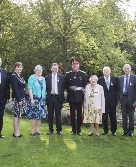 From left, Deputy Lord-Lieutenant David Kerfoot, County Council Vice-Chairman Cllr Robert Windass, Council Chairman Cllr Helen Swires, Marie Taylor, Roger Burnett, Lord-Lieutenant Barry Dodd, Bessie Underwood, Ian Johnson, Richard Barugh, Cadet Phoebe Donbavand and Cadet William Shaw at County Hall.