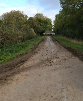 Mud on the road at Acaster Selby, near York
