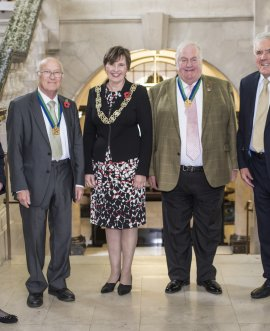 From left, Margaret-Ann de Courcey-Bayley, Bill Hoult, County Council chairman Councillor Helen Swiers, John Fort, Chris Metcalfe and Bernard Bateman at County Hall, Northallerton