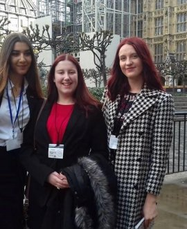 a.	North Yorkshire's three Members of the Youth Parliament, from left, Evie Stevenson, Kitty Jackson and Eden Shackleton