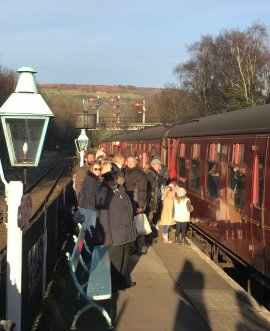 Fostering North Yorkshire families get ready to steam out of Grosmont on the Santa Special