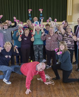 Members of Keep Moving Masham go through their paces with North Yorkshire County Councillors and members of the County Council's Stronger Communities team.