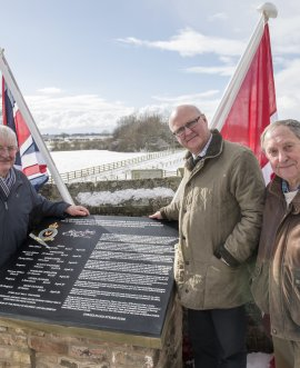 From left, County Councillor Peter Sowray, chairman of the War Memorial Committee Nigel Denison and the clerk to Brafferton Parish Council Roger Clements, with the new memorial