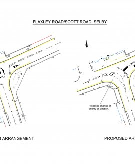 plan shows the existing junction arrangement and the proposed changes