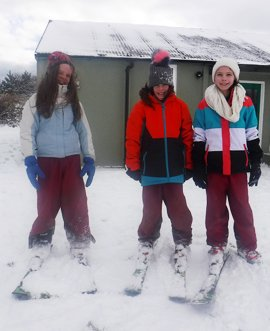Pupils from St Robert's School enjoy the snow at East Barnby