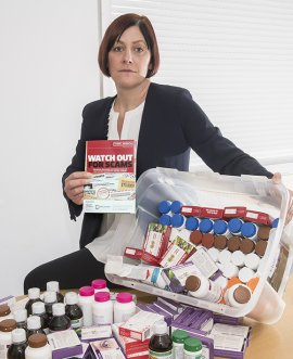 Ruth Andrews, Head of Operation Gauntlet, with pills recovered from the home of a woman in her 90s.
