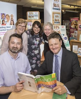 Picture shows: At the launch of the collection at Northallerton library are (from left, seated) Greg Kubas, outreach librarian, and Cllr Greg White; (standing) Susan Muriel, from national charity Making Space; Clare Jones, occupational therapist, NHS Tees, Esk and Wear Valleys; and Mel Fowler, area librarian