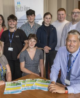 At the presentation of the Youth Voice Executive's end of year report at County Hall are (centre) chair Emily Capstick with other members of the Executive and (left) County Council Assistant Director Inclusion Jane Le Sage and (right) Corporate Director of Children and Young People's Services Stuart Carlton.
