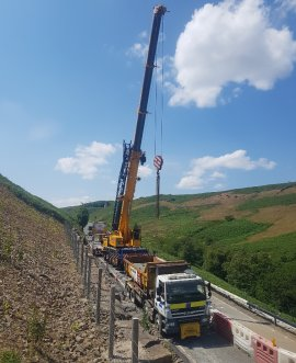 cranes load testing on the A59 at Kexgill over the weekend