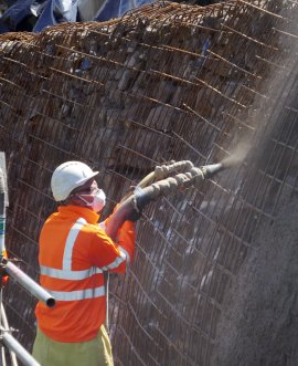 Contractors shotcreting the wall below the A59 at Kex Gill earlier this week.
