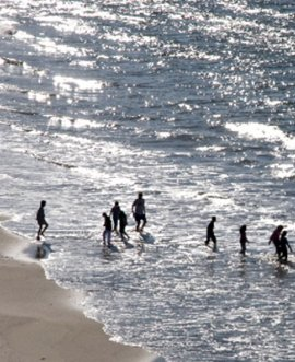 People paddling in the sea.