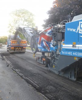 Resurfacing work taking place in Skipton Road Harrogate