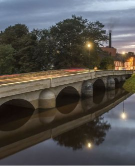 Restored Tadcaster Bridge at dusk