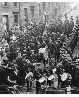 A First World War military funeral procession in Skipton