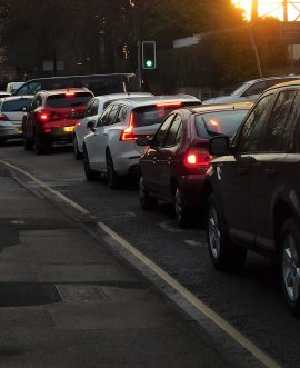 traffic near King James School at school drop-off time