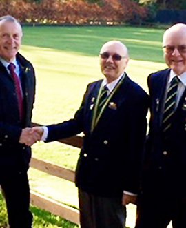 County Councillor Derek Bastiman with Scalby and Newby Bowling Club president Richard Thompson and bowling club member Stuart Stamford