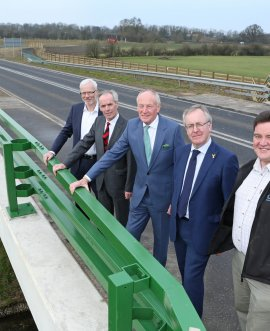 left to right on the bridge are Neil Longden (Environment Agency) Cllr Don McKenzie David Kerfoot Councillor Mark Robson and Roy Fishwick