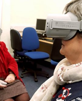 Virtual reality headsets in use at Pickering Library in North Yorkshire