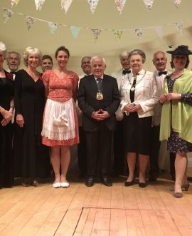 Cllr Jim Clark joins cast members of Harrogate Dramatic Society's Let Us Entertain You on stage at Spofforth Long Memorial Hall