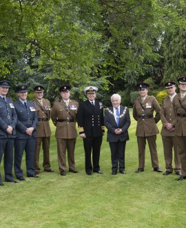 Cllr Clark and Capt Upright with representatives of the armed forces