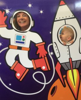Ready for blast-off in this year's Summer Reading Challenge are outreach librarian Heather French and rocket man Albie Burrows