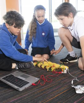 Primary school pupils at the Innovation Festival held at Thirsk Racecourse