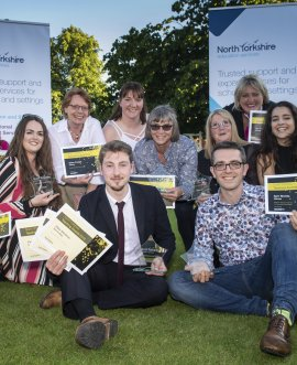 Nominees and winners from the North Yorkshire County Council teaching awards at the Thirsk Racecourse celebration.