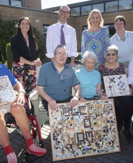 Residents show off ceramics with Caroline Dinenage MP and Richard Webb