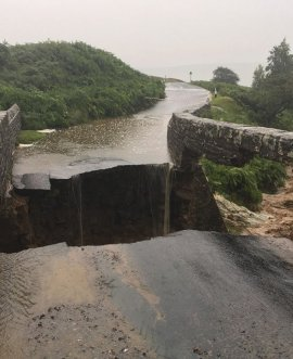 the collapsed bridge at Grinton Moor